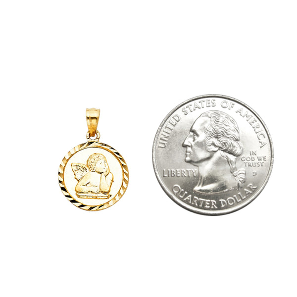 14k Gold Michael Angelo Cherub Angel Pendant