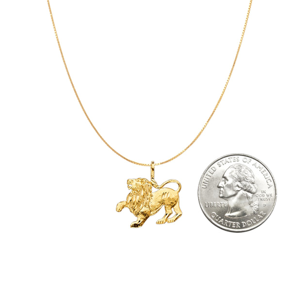 Lion Pendant - 14K Solid Yellow Gold