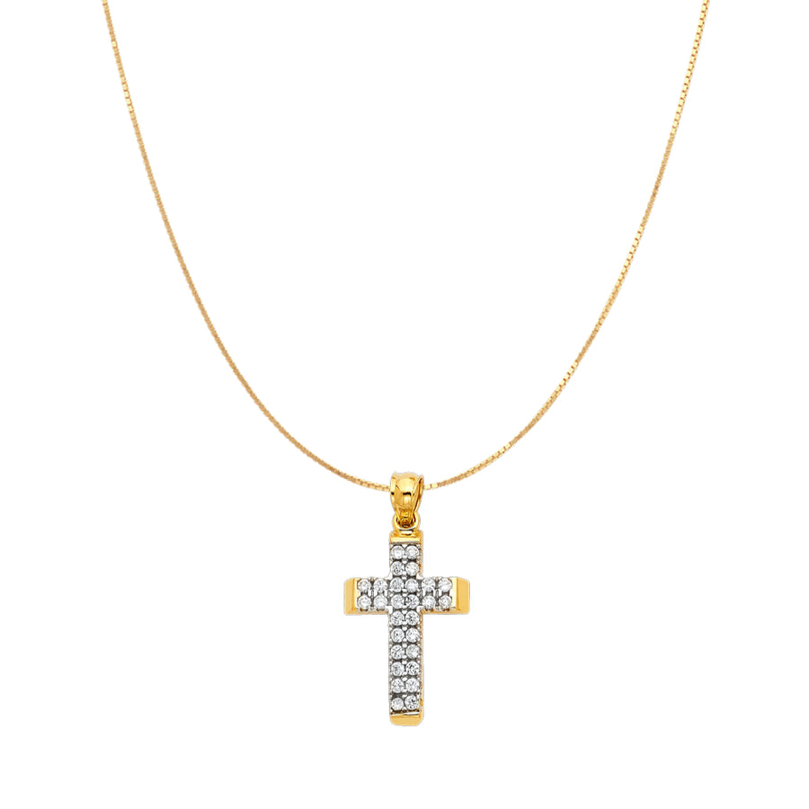 CZ Cross Pendant - 14K Solid Yellow Gold