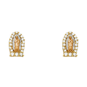 Virgin Mary Earring - 14K Solid Yellow Gold