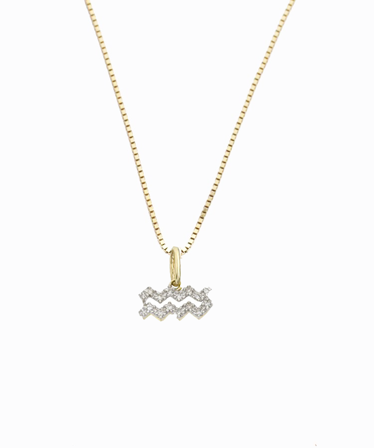 Aquarius Diamond Charm Necklace | 14K Gold