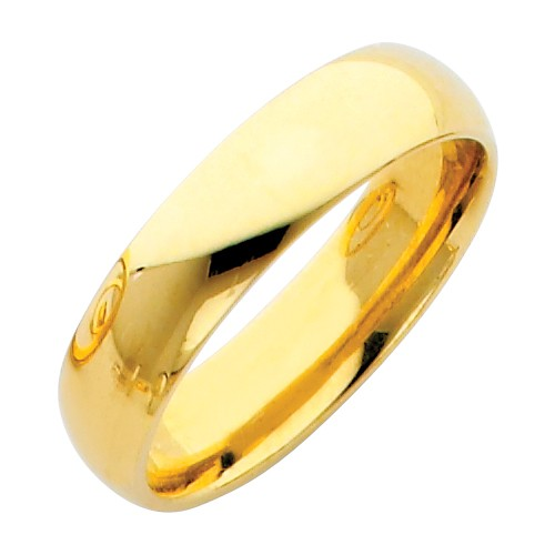 14K polished yellow gold simple minimalist wedding band ring