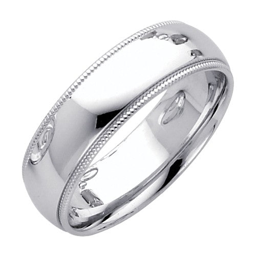 14k polished white gold milgrain comfort wedding band ring