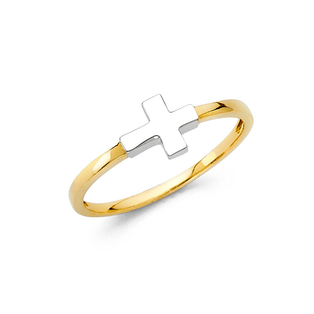 14K Two Tone Religious Cross Ring