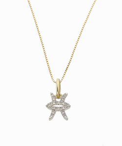 Pisces Diamond Charm Necklace | 10K Gold & 14K Gold
