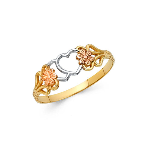 14K Multi Tone Solid Gold Flower and Hearts Ring