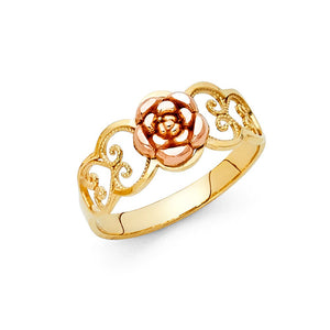 14K Two Tone Solid Gold Flower Ring