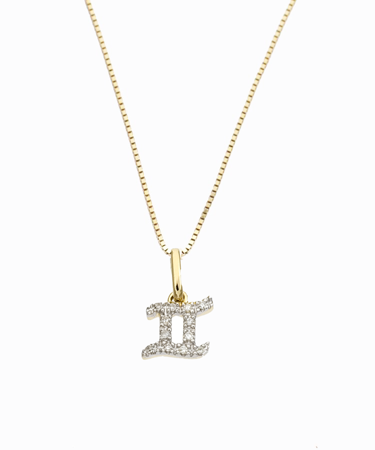 Gemini Diamond Charm Necklace | 14K Gold