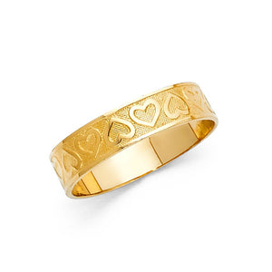 14K Solid Yellow Gold Hearts Band Ring