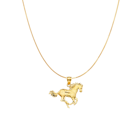 Mustang Horse Pendant - 14K Gold