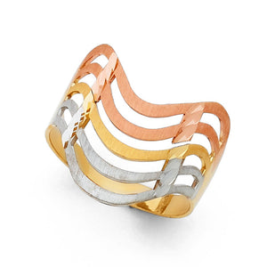 14K Solid Multi Tone Gold Layered Wave Women's Ring