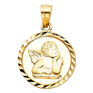 14K Gold Cherub Angel Medal