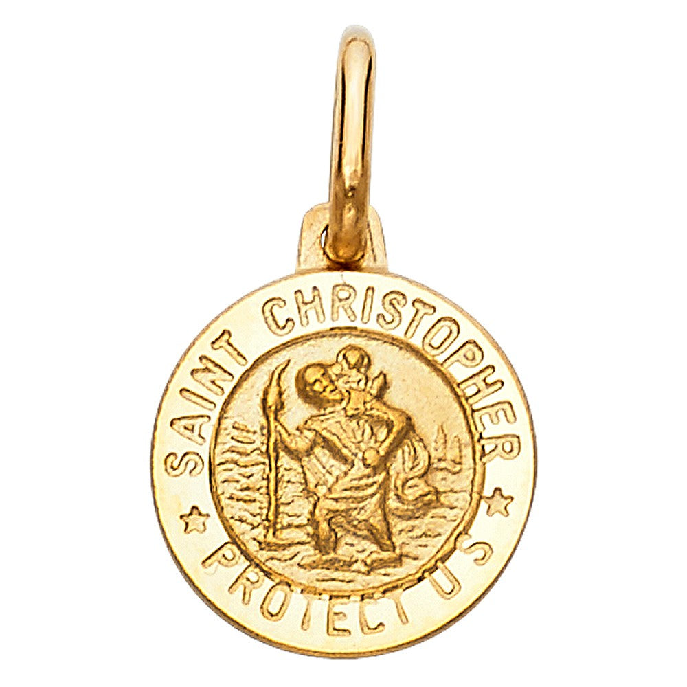 14K Solid Yellow Gold Saint Christopher Medal Pendant