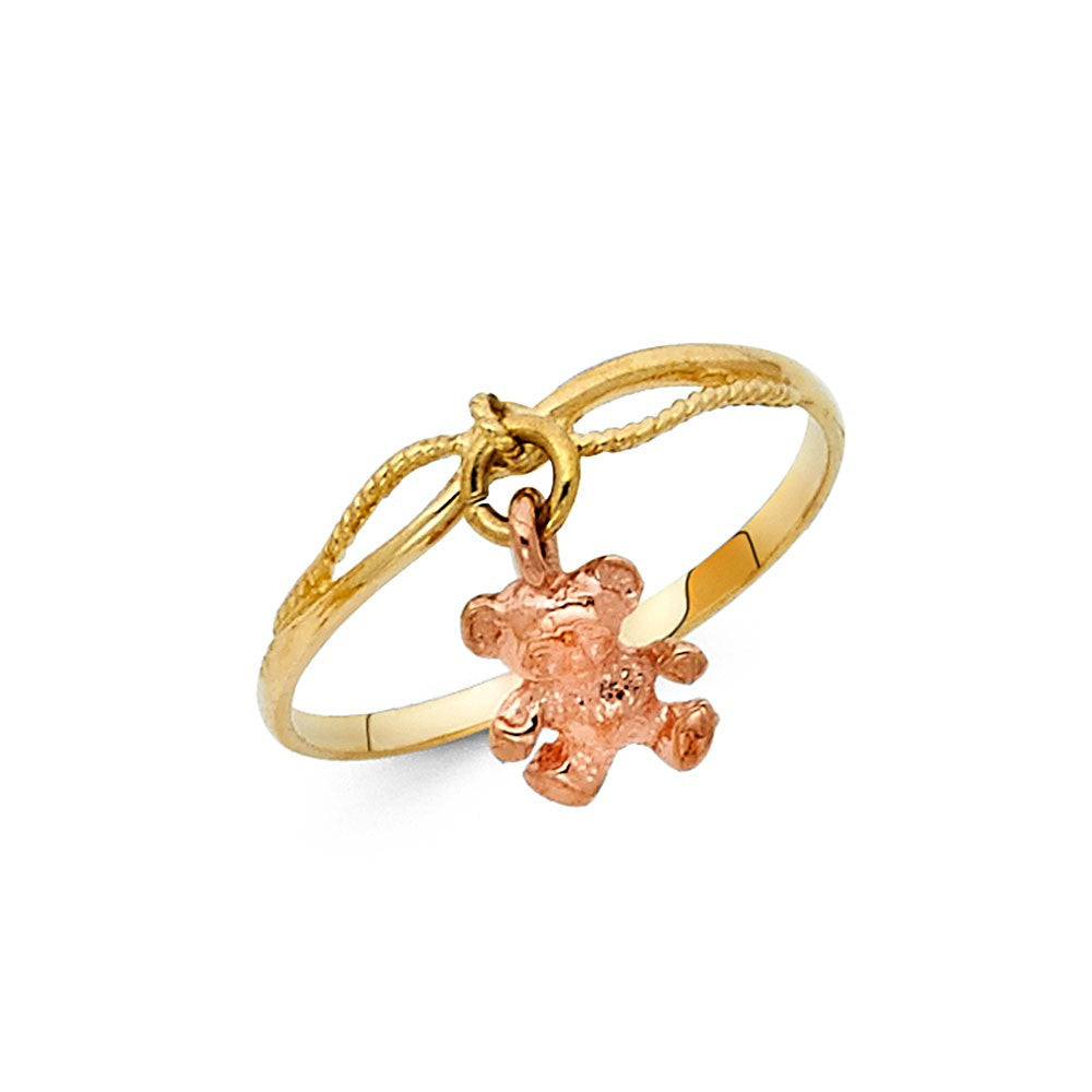 14K Two Tone Solid Gold Hanging Teddy Bear Ring