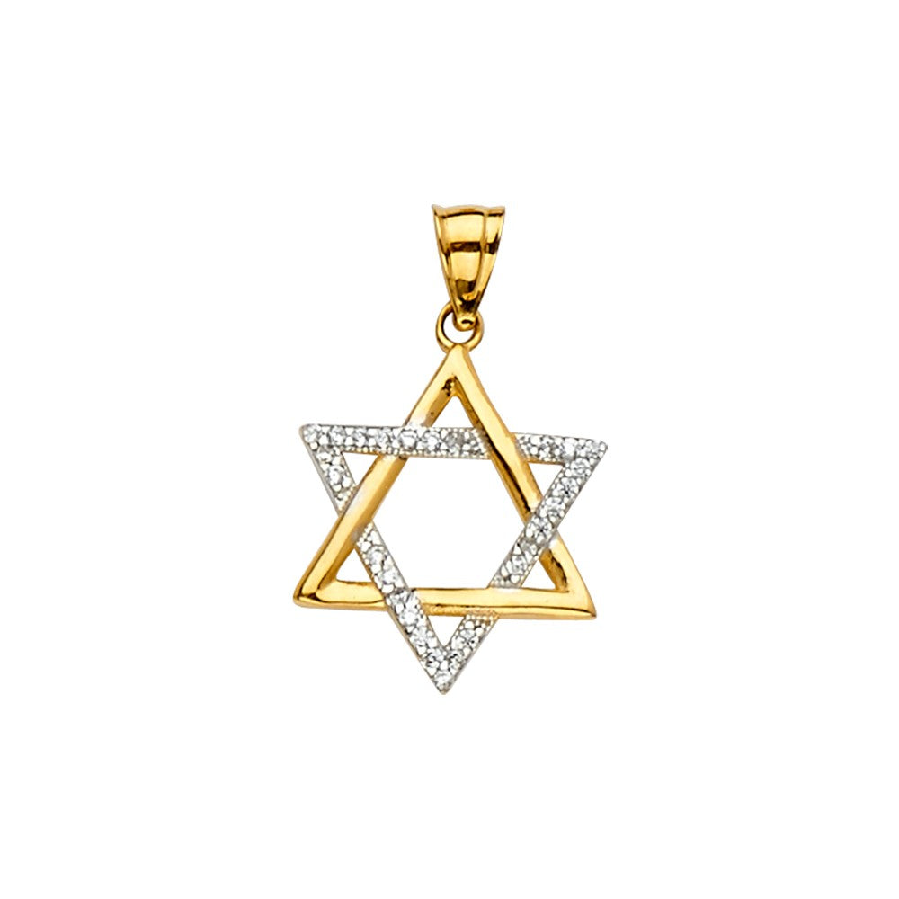 14K Solid Gold Two Tone Star of David Charm Pendant