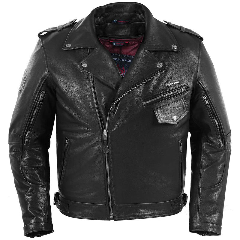 Outlaw 2.0 Leather Jacket Street Jacket Pokerun SM BLACK