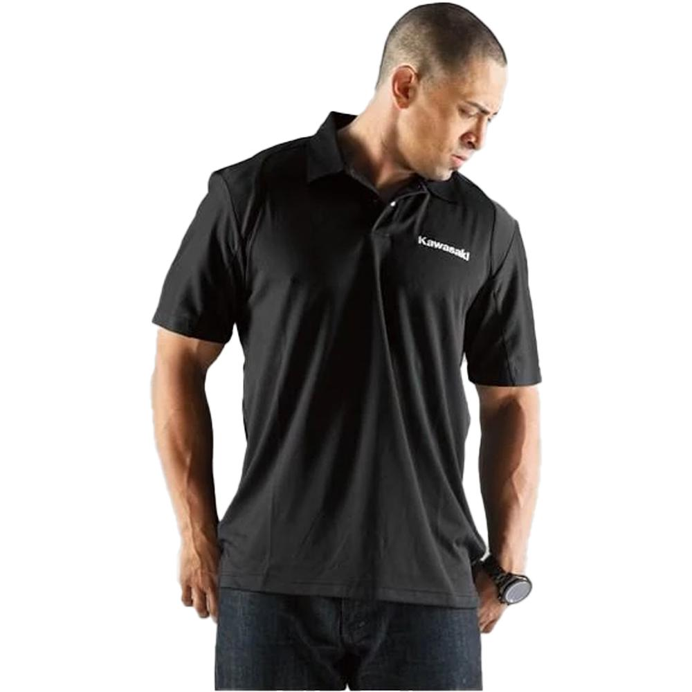 Social Polo T-Shirt Kawasaki SM Black Polo