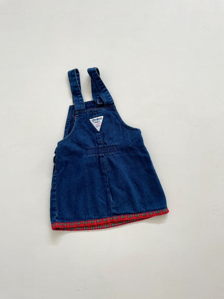Vintage OshKosh B'Gosh Denim & Red Gingham Dress Size 2 Years