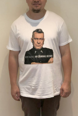 'My Criminal Record' White T-shirt - Jimmy Barnes Online Store