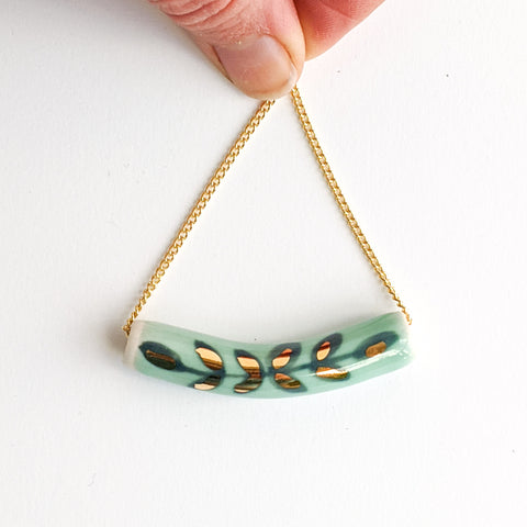 Teal Laurel Tube Pendant
