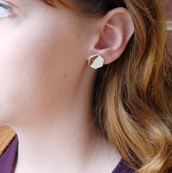 Geometric Earrings | Baby Hex Studs- October Forever