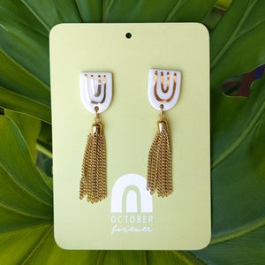 Rainbow Tassel Statement Studs - October Forever