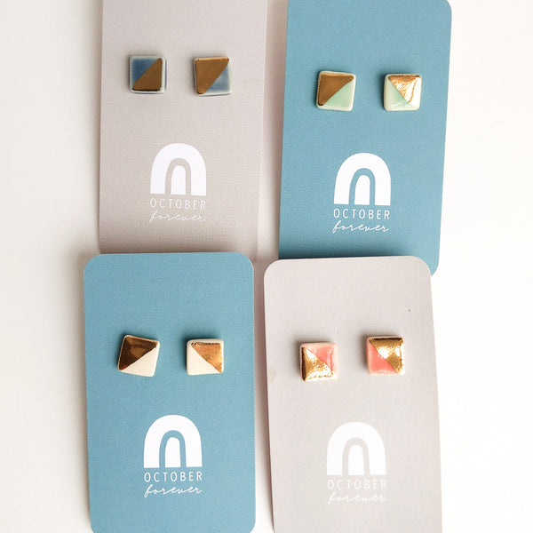 Square Earrings | Square Studs - October Forever