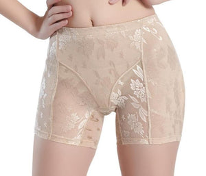 Waist-Slimming and Tushy-Lifting Floral Embroidered Panties - Nude