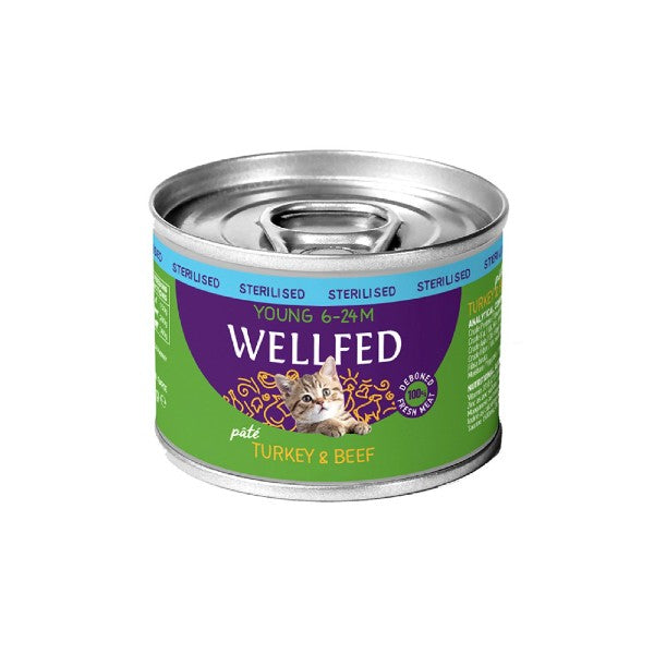 WELLFED YOUNG STERILISED ΓΑΛΟΠΟΥΛΑ & ΒΟΔΙΝΟ 200gr