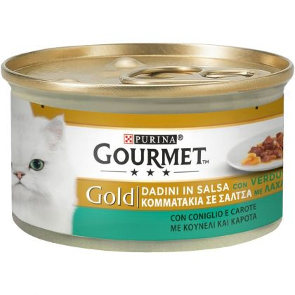 PURINA GOURMET GOLD Κομματάκια σε σάλτσα ΜΕ ΚΟΥΝΕΛΙ ΚΑΙ ΚΑΡΟΤΑ 85g