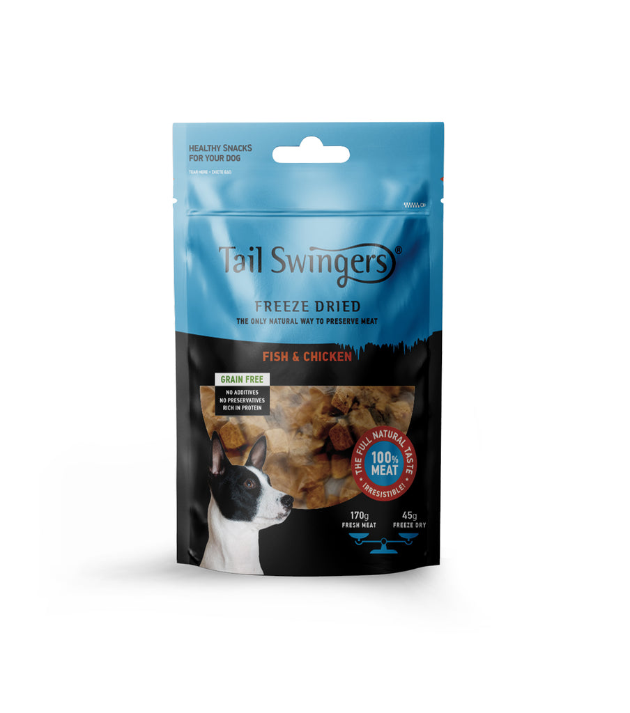 TAIL SWINGERS FREEZE DRIED FISH & CHICKEN ΓΙΑ ΣΚΥΛΟΥΣ 45gr