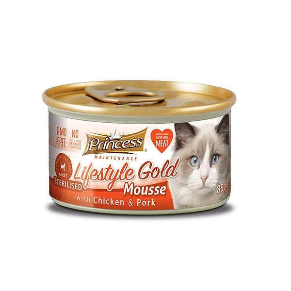 Princess Lifestyle Gold Mousse Sterilised Κοτόπουλο & Χοιρινό 85g