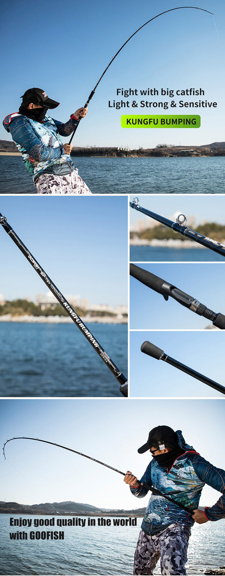 heavy light bumping catfish casting spinning fishing rod