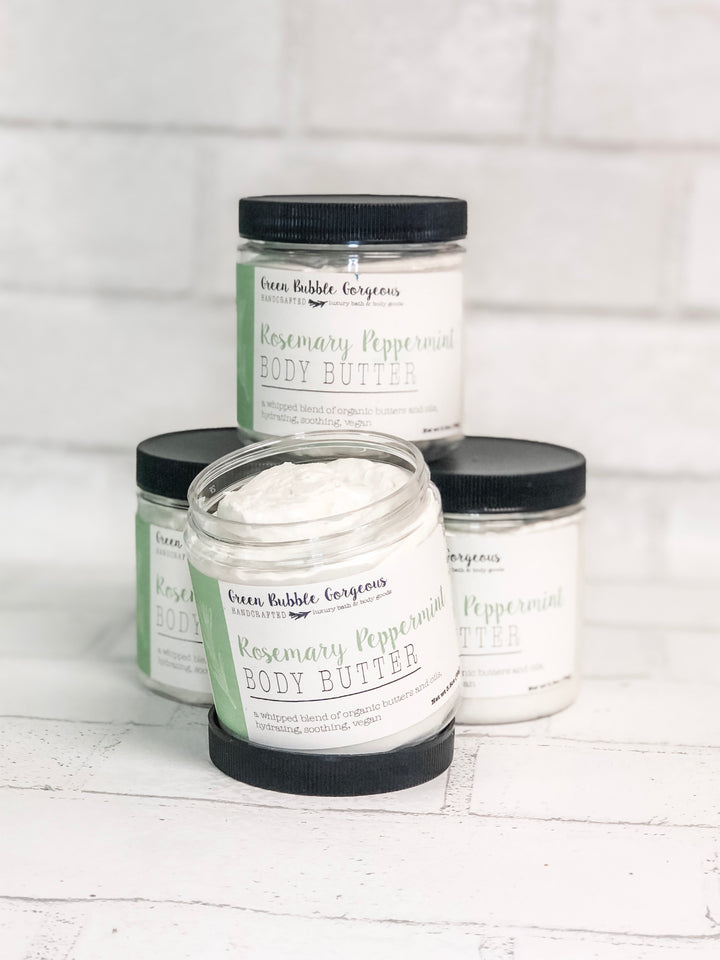 Whipped Body Butter, Natural Cream, Rosemary Peppermint with Organic Shea and Coconut Oil