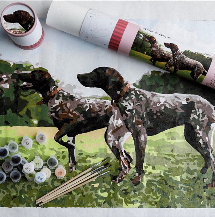dog paint by number, pink Picasso paint by number