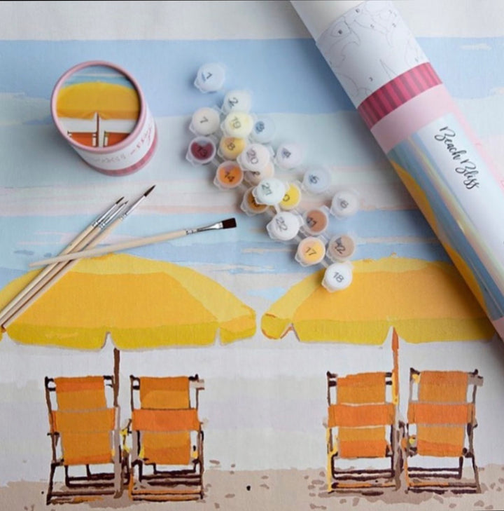 grown up paint by numbers, diy beach painting