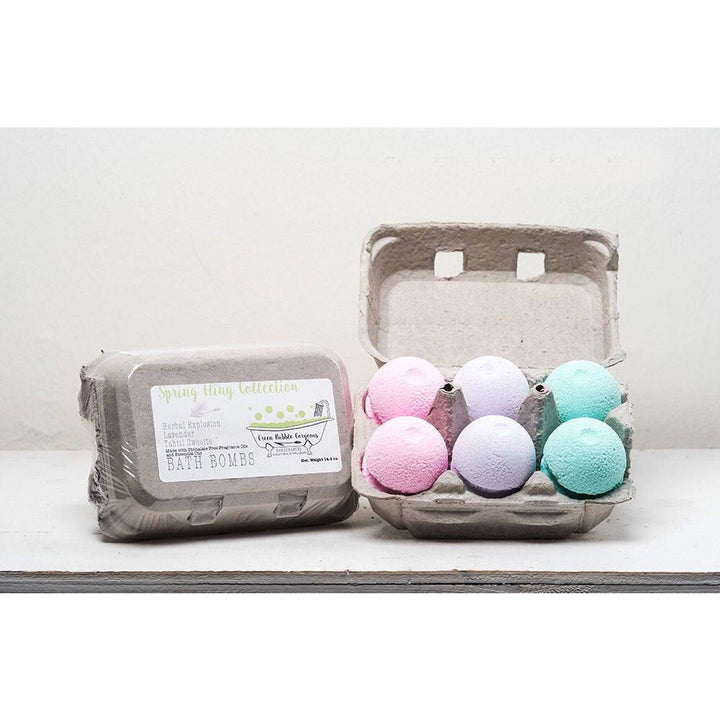 easter bath bombs, spring bath bomb set, Easter egg bath bombs, spring bath bomb collection, bath bombs with egg carton