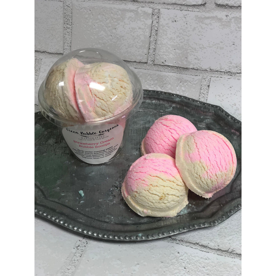 Strawberry Cream Bubble Scoops, Strawberry Vanilla Bubble Bath, Strawberry Bubble Bomb 7.5 oz.