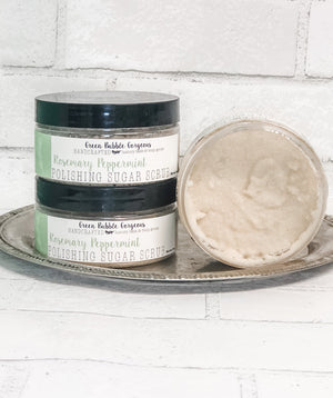 Natural Sugar Scrub, Rosemary Peppermint, with Organic Shea Butter