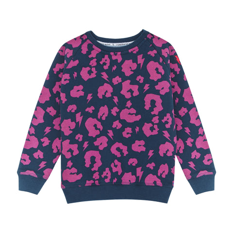 Super Soft Sweatshirt in Navy with Hot Pink Leopard Print by Scamp & Dude