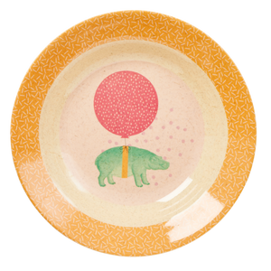 Bamboo Melamine Kids Bowl with Animal Print - Soft Pink