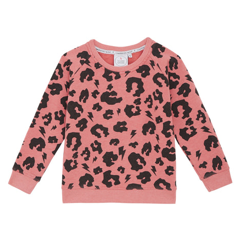 Super Soft Sweatshirt in Coral Leopard Print by Scamp & Dude