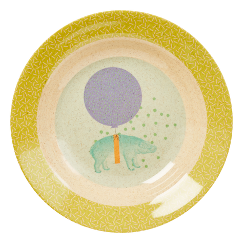 Bamboo Melamine Kids Bowl with Animal Print - Soft Blue
