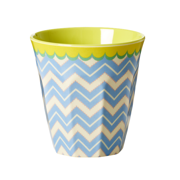 Melamine Medium Cup with Chevron Print - Two Tone - Medium