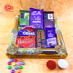 Chocolates In Square Golden Tray
