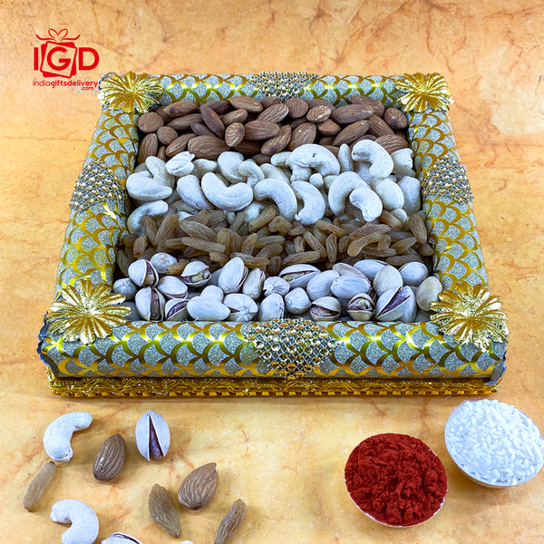 Mixed Dry Fruits In Rectangle Tray