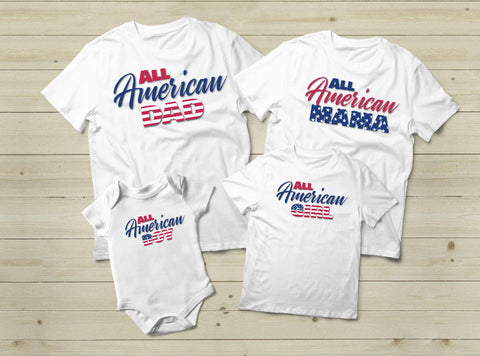 American Family Shirt 4th of July Matching Outfits USA Flag