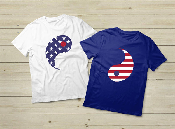 Couple Shirts Yin Yang American Flag  Stars and Stripes