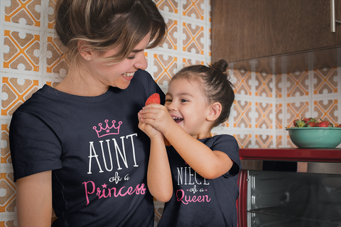 Aunt Niece Matching Shirts Auntie Queen and Princess Gift