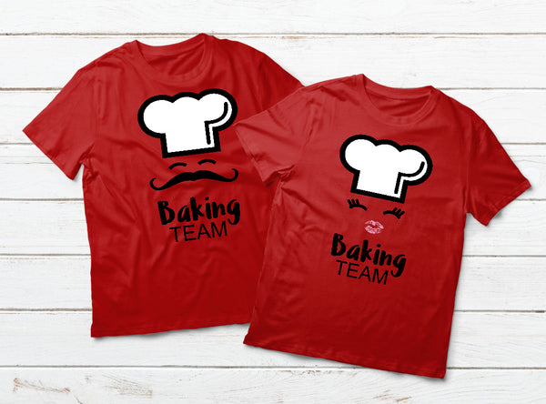 Couple Shirts Baking Team Chef Matching Outfits